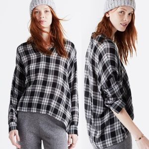 Madewell Black Popover Clarksburg Plaid Top